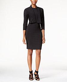 Calvin Klein Open-Front Sparkle Shrug