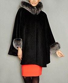 Fox-Trim Wool-Alpaca-Blend Hooded Cape