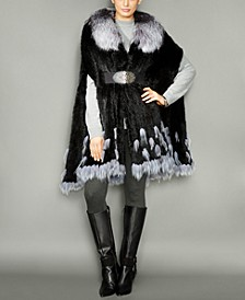 Fox-Fur-Trim Knitted Mink Fur Cape