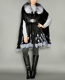 The Fur Vault Fox-Fur-Trim Knitted Mink Fur Cape
