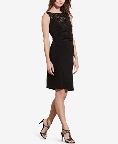 Lauren Ralph Lauren Sequined-Yoke Sheath Dress