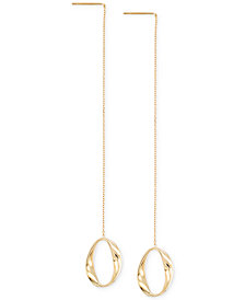 Italian Gold Polished Oval Threader Earrings in 14k Gold