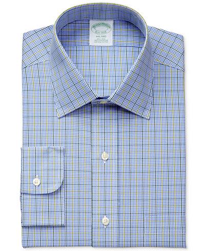 Brooks Brothers Men's Milano Extra-Slim Fit Non-Iron Light Blue Plaid Dress Shirt