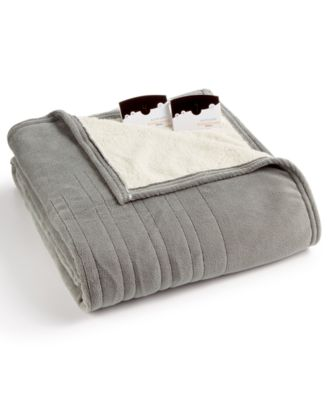 Microplush Reverse Faux Sherpa Heated Twin Blanket