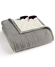 Biddeford Microplush Reverse Faux Sherpa Heated Twin Blanket