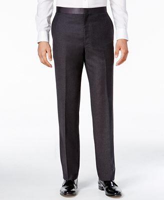 Ryan Seacrest Distinction Men's Modern Fit Gray Flannel Tuxedo Pants, Only at Macy's