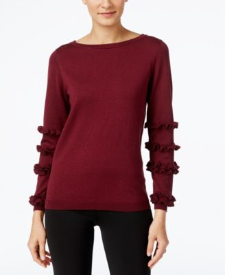 Image of NY Collection Ruffled-Sleeve Sweater
