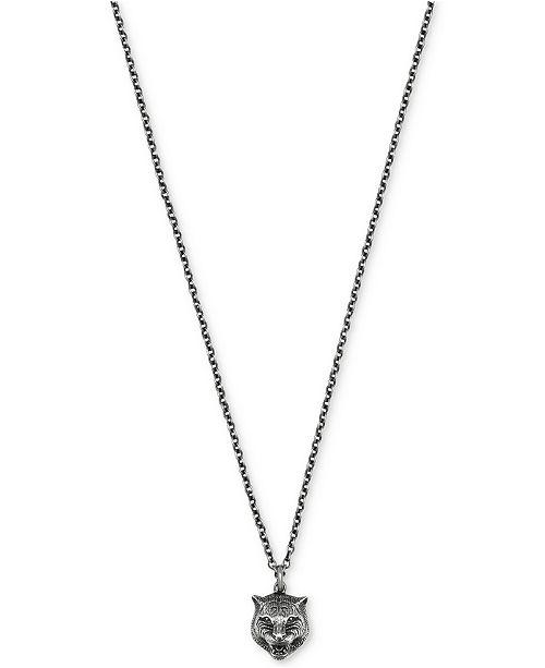 Gucci Men's Sterling Silver Feline Head Pendant Necklace YBB43360800100U
