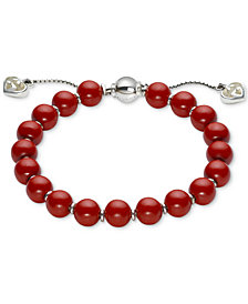 Gucci Women's San Valentino Sterling Silver Red Wood Bead Bracelet YBA286673001