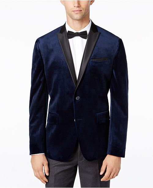 INC International Concepts I.N.C. Men's Slim-Fit Velvet Blazer, Created for Macy's