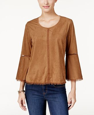 Style & Co Faux-Suede Bell-Sleeve Top, Created for Macy's