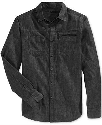 Sean john men 39 s big tall raw black denim shirt casual for Sean john t shirts for mens
