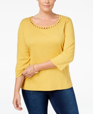 Karen Scott Plus Size Cutout-Neck Top, Only at Macy's