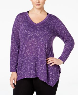 Ideology Plus Size Space-Dyed Top, Only at Macy's
