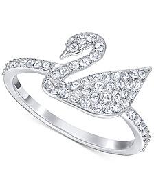 Swarovski Silver-Tone Crystal Swan Logo Ring