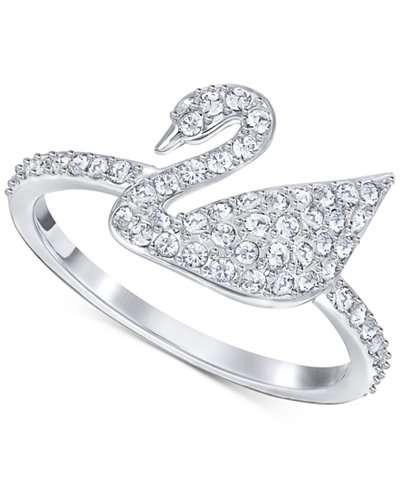 swarovski silver tone crystal swan logo ring jewelry. Black Bedroom Furniture Sets. Home Design Ideas