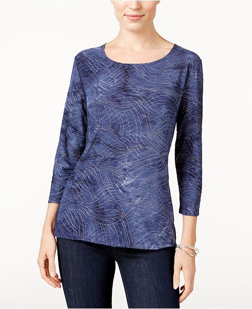 JM Collection Tie-Dyed Embellished Jacquard Top, Created for Macy's