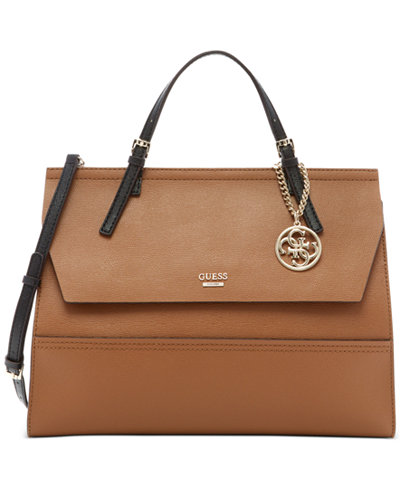 GUESS Huntley Top-Handle Flap-Front Satchel - Satchels - Handbags ...