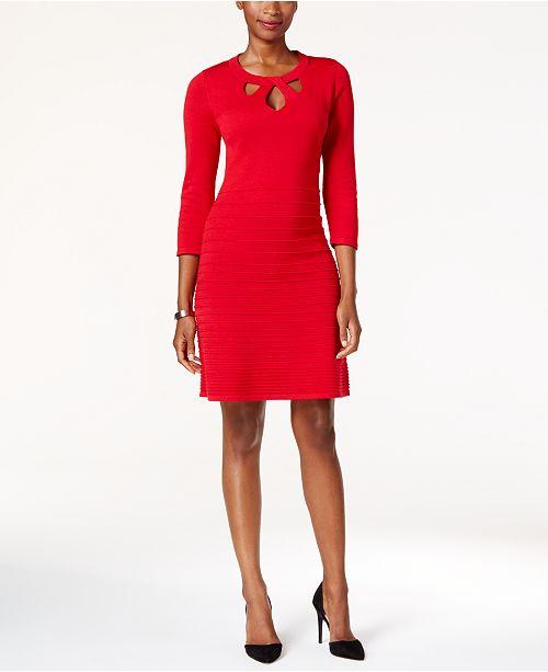 db6f38e9361 Nine West Cutout Fit   Flare Sweater Dress - Dresses - Women - Macy s