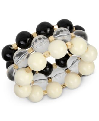 Image of IRIS X INC International Concepts Gold-Tone 3-Pc Set Large Beaded Stretch Bracelets, Only at Macy's