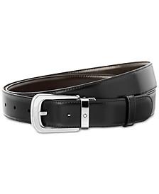 Men's Reversible Black/Brown Calfskin Leather Pin Buckle Belt 106603