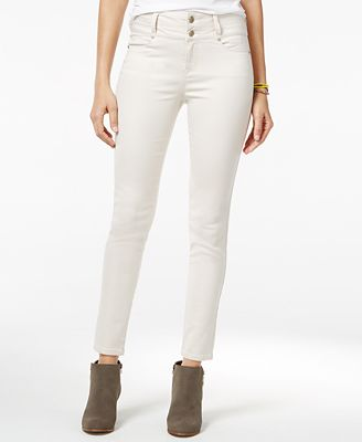 Tinseltown Juniors' 2-Button High-Waist Colored Skinny Jeans ...