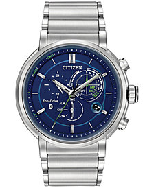 Citizen Ecoo-Drive Men's Chronograph Proximity Stainless Steel Bracelet Smartwatch 46mm BZ1000-54L, Created for Macy's