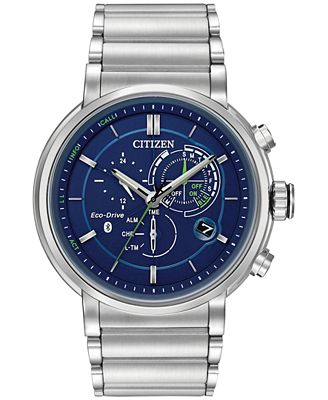 Citizen Ecoo-Drive Men's Chronograph Proximity Stainless Steel Bracelet Smartwatch 46mm BZ1000-54L, A Macy's Exclusive Style