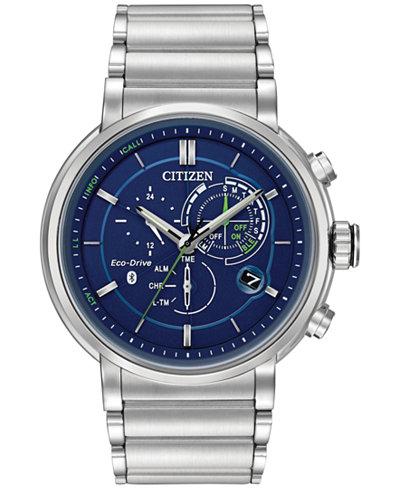 Citizen Ecoo-Drive Men's Chronograph Proximity Stainless Steel Bracelet Smartwatch 46mm BZ1000-54L, A Macy's Exclusive Style