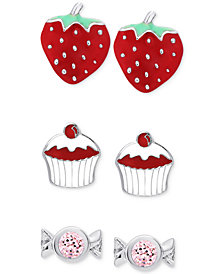 Children's 3-Pc. Set Dessert-Inspired Stud Earrings in Sterling Silver