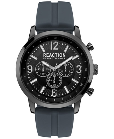 Kenneth Cole Reaction Mens Gunmetal Gray Silicone Strap Watch 44mm 10030931