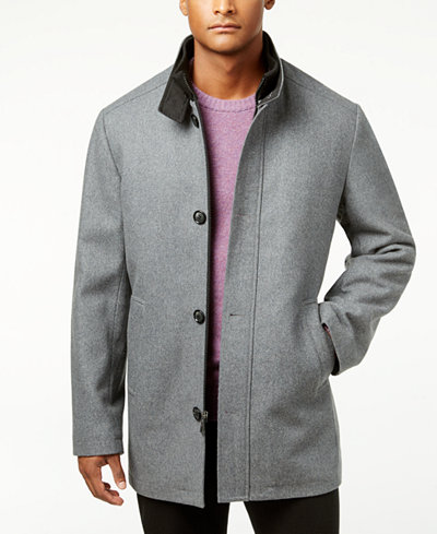 Kenneth Cole Men S Single Breasted Charcoal Solid Car Coat
