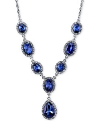 Image of 2028 Silver-Tone Stone Pavé Y-Neck Necklace, a Macy's Exclusive Style