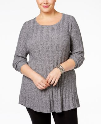 Style & Co. Plus Size Rib-Knit Tunic Sweater, Only at Macy's
