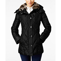London Fog Faux-Fur-Collar Quilted Down Coat (Kale or Black)