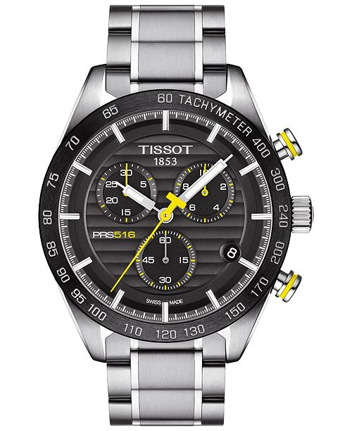 61795d588 ... Tissot Men's Swiss Chronograph PRS 516 Stainless Steel Bracelet Watch  42mm T1004171105100 ...