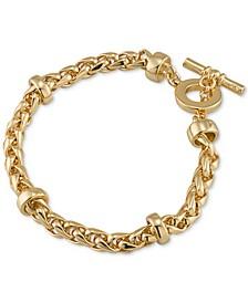 Gold-Tone Heavy Chain Toggle Bracelet
