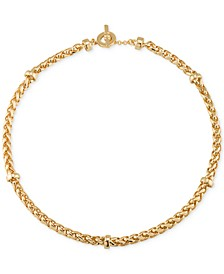Gold-Tone Decorative Chain Collar Necklace