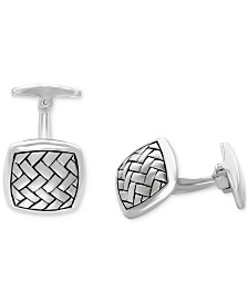 EFFY® Men's Woven-Look Square Cufflinks in Sterling Silver