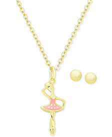 Children's Ballerina Pendant Necklace and Ball Stud Earrings Set in 18k Gold-Plated Sterling Silver