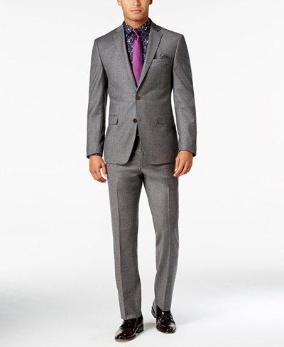 Tallia Men's Slim-Fit Gray/Orange Windowpane Suit