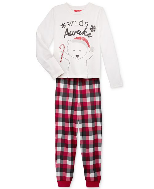 Family Pajamas Boys' or Girls' Buffalo Plaid Wide Awake Pajama Set, Created for Macy's