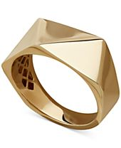 Italian Gold Polished Pyramid Cut Statement Ring in 14k Gold