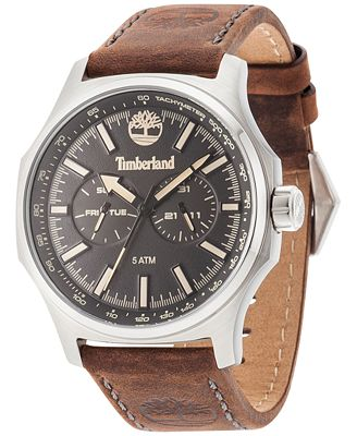 Timberland Men's Leydon Dark Brown Leather Strap Watch 46x57mm TBL14813JS02