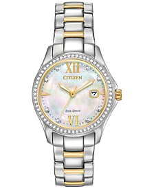 citizen watches macy s citizen eco drive women s silhouette crystal jewelry two tone stainless steel bracelet watch 30mm
