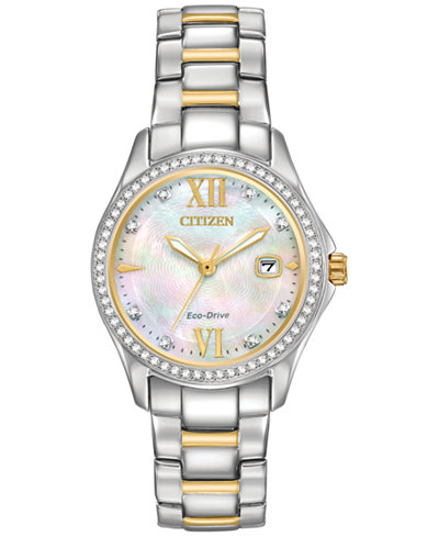Citizen Eco-Drive Women's Silhouette Crystal Jewelry Two-Tone Stainless Steel Bracelet Watch 30mm FE1144-85D, A  Exclusive