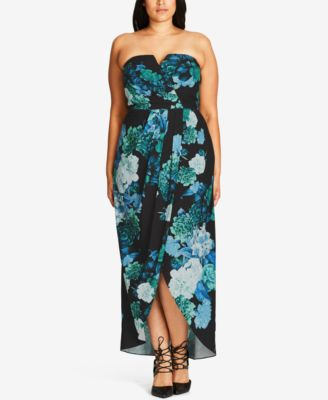 City Chic Trendy Plus Size Floral-Print Maxi Dress