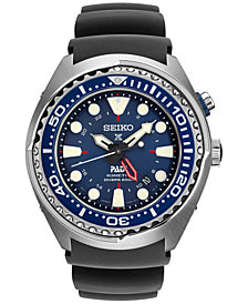 Seiko Men's Prospex Kinetic GMT Diver PADI Black Silicone Strap Watch 48mm SUN065