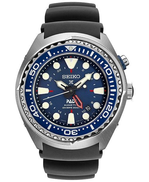 ... Seiko Men s Prospex Kinetic GMT Diver PADI Black Silicone Strap Watch  48mm SUN065 ... 2b4ad42767