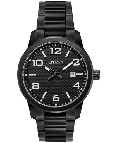 Citizen Men's Quartz Black Ion-Plated Stainless Steel Bracelet Watch 42mm BI1025-53E, Created for Macy's